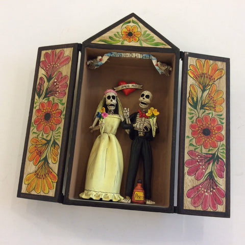 Skeleton Wedding Couple Retablo Box