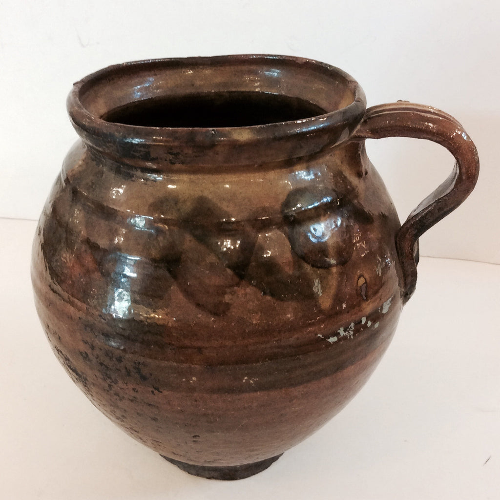 Vintage Guatemalan Glazed Pottery Jug with Handle