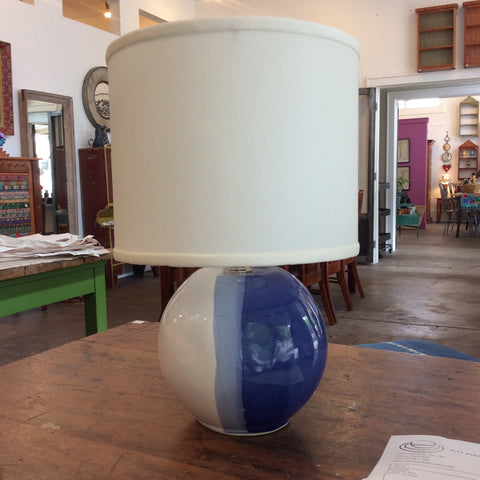 Sphere Lamp in Blue/White with Shade