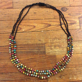 Kantha Beads Triple Strand Necklace