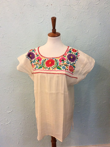 Embroidered Mexican Peasant Blouse - Red Trim No. 1