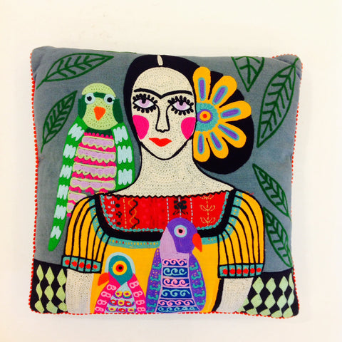 Woman with 3 Parrots Pillow (Frida)