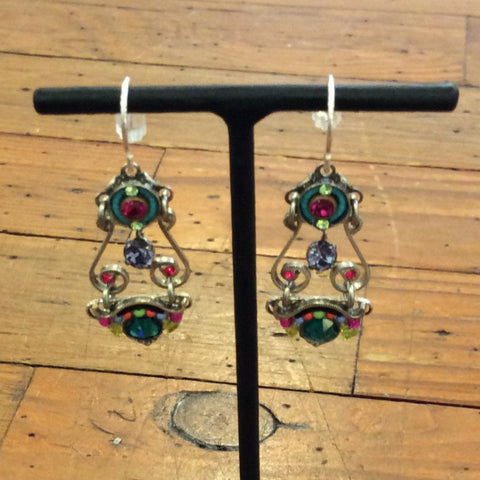 Elaborate Spirial Earrings - Multicolor