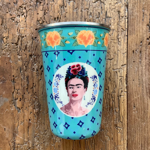 Painted Stainless Steel Tumbler with Frida Kahlo - Turquoise