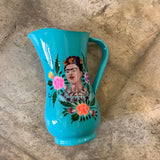 Painted Stainless Steel Pitcher with Frida Kahlo - Turquoise
