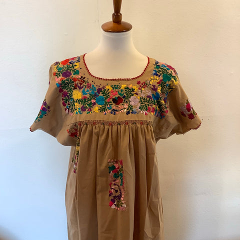San Antonino Dress from Mexico - Multicolor/Coffee