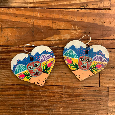 Painted Wood and Sterling Silver Earrings by Fernando Lorenzo - Luchador Heart