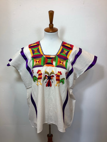 Embroidered Natural Cotton Huipil from Huazolotitlan, Oaxaca Medium / Large