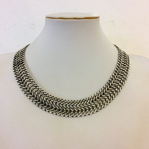 Black Flat Silver Chain Necklace