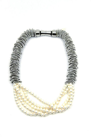 Silver Spring Ring Necklace with 5 Strand Pearls