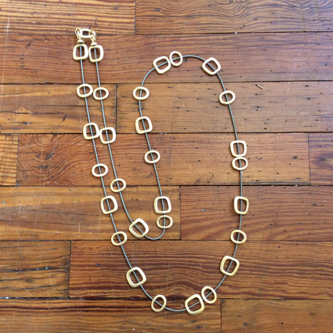SALE - Gold Squares Piano wire Necklace - Long