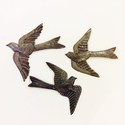 Metal Bird (Large Flat) Wall Decor from Haiti
