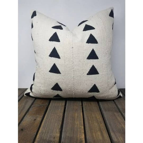 Behati African Mud Cloth Pillow - White