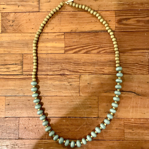 Wooden Oval Bead Necklace - Sage/Mustard