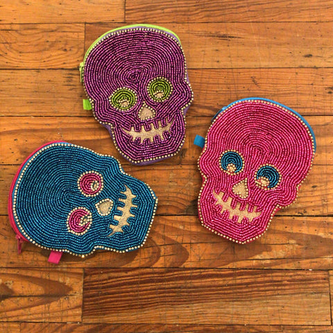 Beaded Skull Coin Purse