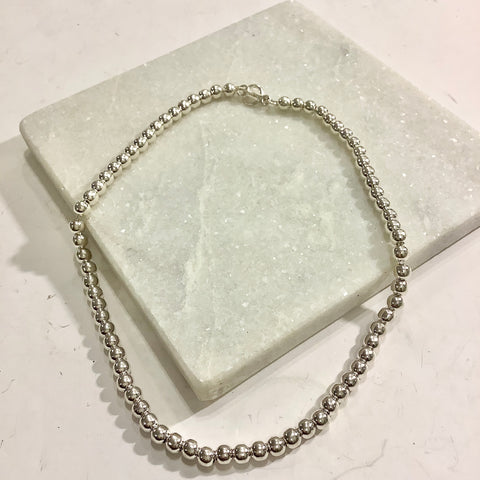 Beaded Silver Necklace - Large