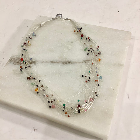 Silk Thread Crystal Necklace - Silver