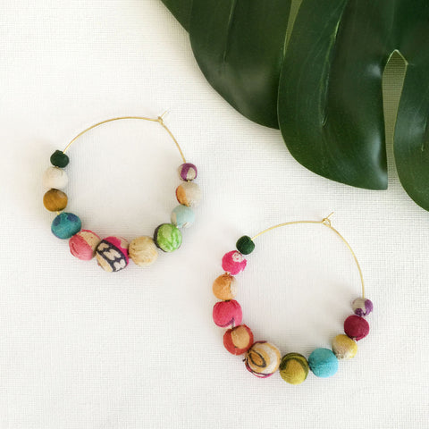 Kantha Graduated Hoop Earrings