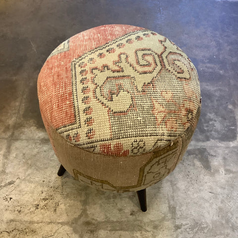 Small Turkish Kilim Ottoman / Footstool
