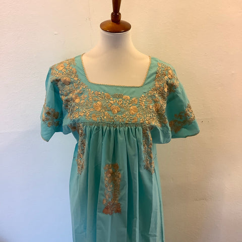 San Antonino Dress from Mexico - Gold/Turquoise