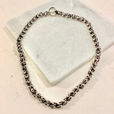 Interlocked Ball Chain Silver Necklace