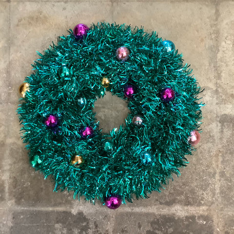 Turquoise Tinsel Wreath