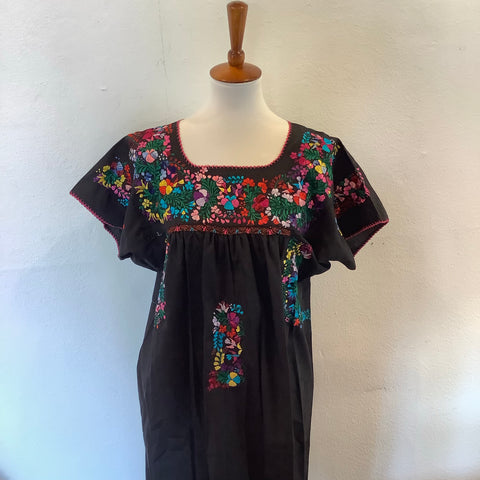 San Antonino Dress from Mexico - Multicolor/Black