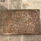 Carved Wood Relief Panel with Birds