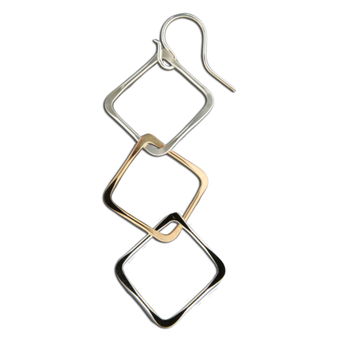 Square Link Earrings - Mixed Metal