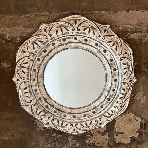 Large Pressed Metal Flower Wall Mirror - White Washed