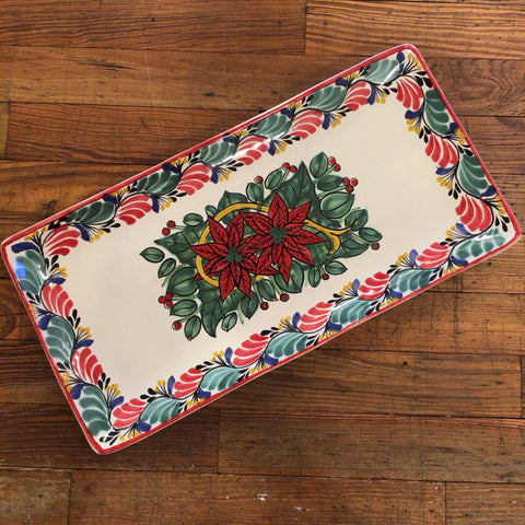 Gorky Rectangular Plate with Poinsettias Noche Buena
