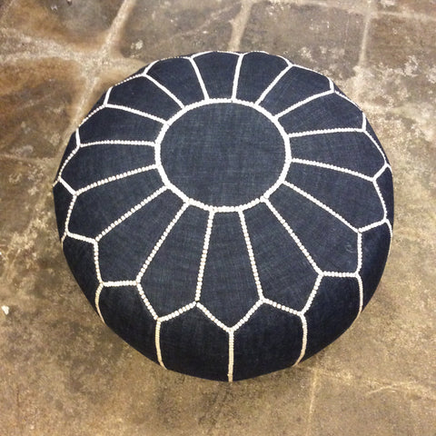 Moroccan Dark Denim Pouf with White Stitching