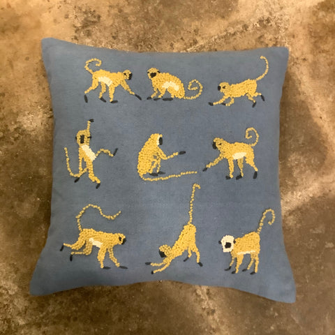 Knotty Monkey Pillow Blue Denim