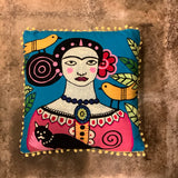 Woman with Cat and Birds Pillow (Frida)
