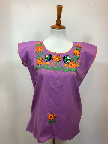 Embroidered Huipil Blouse Top - Flowers and Butterflies - Medium
