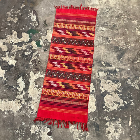 Short Elaborate Multicolored Brocade Table Runner from Guatemala -  Red