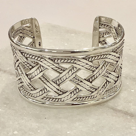 SALE - Braided Criss Cross Silver Cuff Bracelet