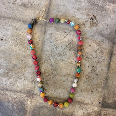 Multicolored Kantha Garland Necklace
