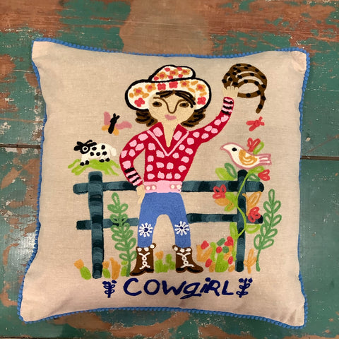 Rodeo Girl Cowgirl Denim Pillow