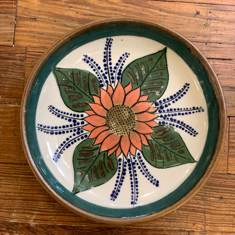 Stoneware Plate from Mexico - Sunflower