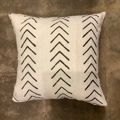 Azibo African Mud Cloth Pillow - White