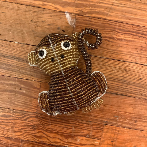 Wire and Glass Bead Night Light from Haiti- Monkey