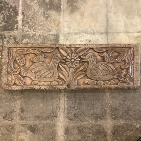 Carved Wood Relief Panel with Ducks Birds