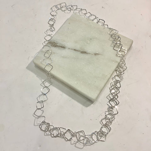 Hammered Square Silver Necklace