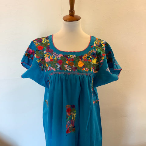 San Antonino Dress from Mexico - Multicolor/Blue