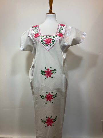 Embroidered Natural Cotton Huipil Dress from Huazolotitlan, Oaxaca - Large