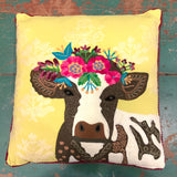 Cow on Damask Background Pillow