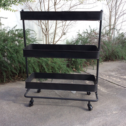 Black Metal 3-Tier Shelf Cart