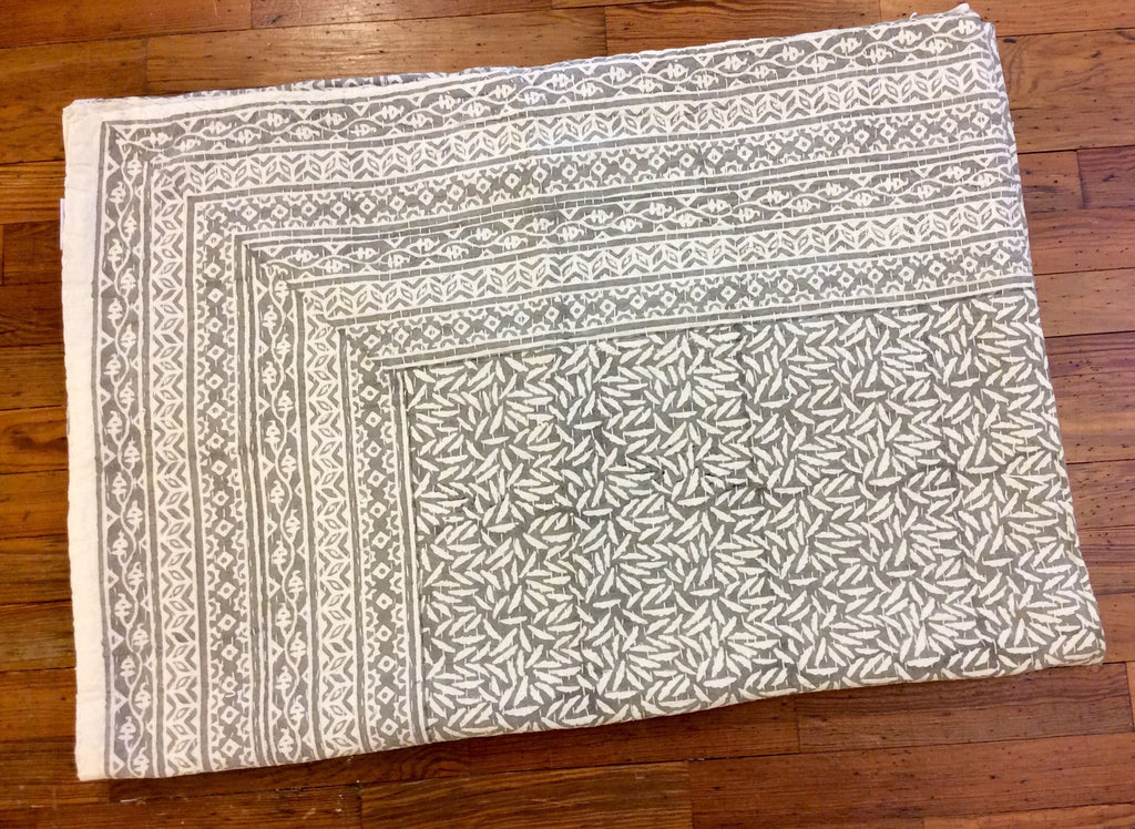 Rice Grey Kantha Embroidery Coverlet