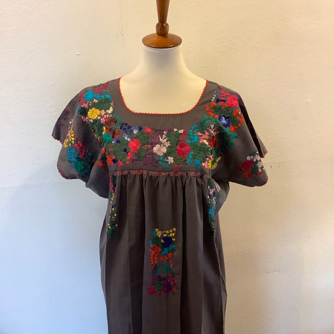 San Antonino Dress from Mexico - Multicolor/Grey